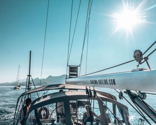 Xanemo sailing boat sunflare Naxos Greece