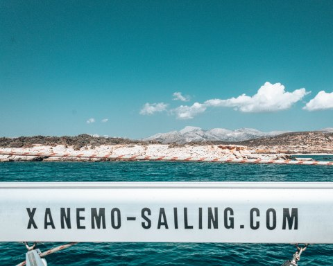 Xanemo sailing boat view Naxos Greece
