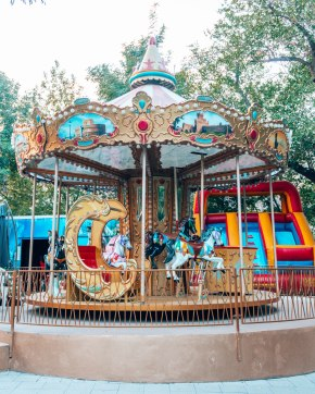 Childrens train station amusement park merry go round Yerevan Armenia