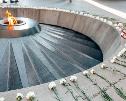 Eternal flame at tsitesnagerb Yerevan Armenia
