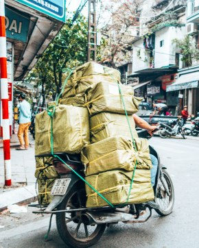 Packing too much stuff on your scooter Vietnam
