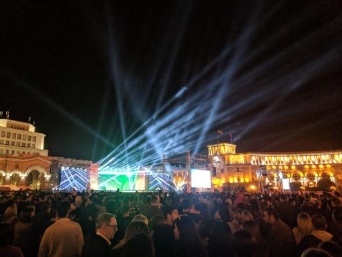 Republic square at night 2800 celebration Yerevan Armenia