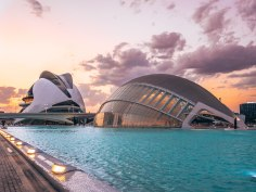 Science and culture park Valencia Spain sunset