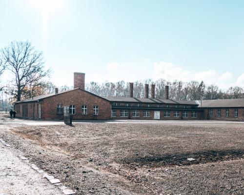 The sauna building at the Auschwitz-Birkeneau concentration camp in Poland