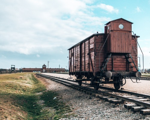 Remnants of the trains that brought the victims to the Auschwitz Birkeneau concentration camp in Poland