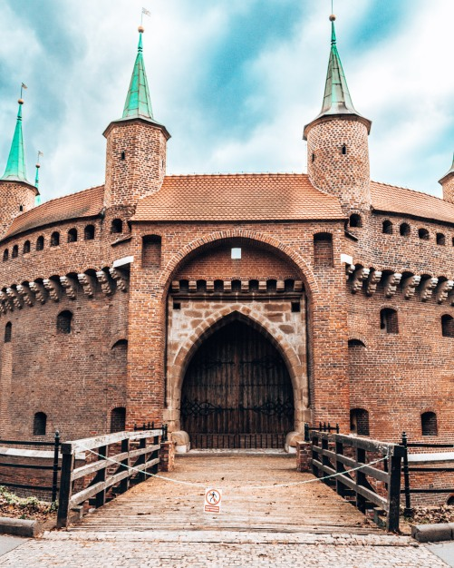 The Barbican fortress in the old town of Krakow, Poland