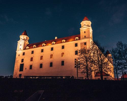 Beautiful night shot of the Bratislava Castle in Bratislava, Slovakia
