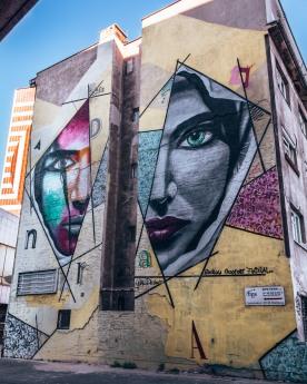 Street art of 2 women's faces in Bratislava, Slovakia