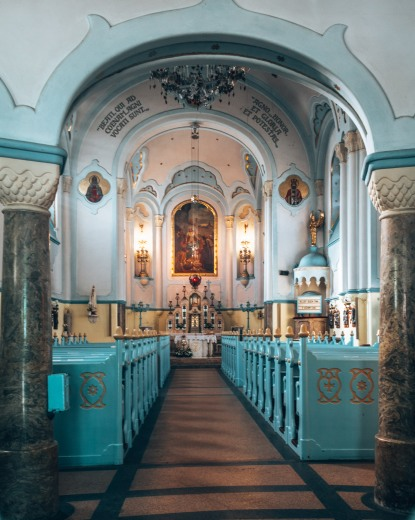A peak inside the Church of St. Elizabeth aka the Blue Church in Bratislava, Slovakia