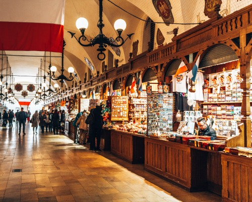 Inside the Cloth Hall market in the old ton of Krakow, Poland