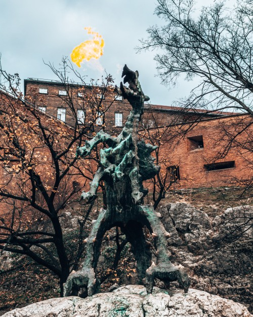 The fearsome 7 headed Dragon of the castle in Krakow, Poland