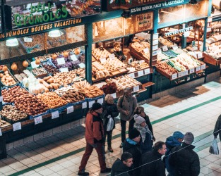 Grab some food at the Great Market Hall in Budapest, Hungary