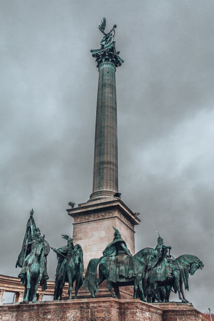 The monument of Hősök tere also known as Heroes Square in Budapest, Hungary