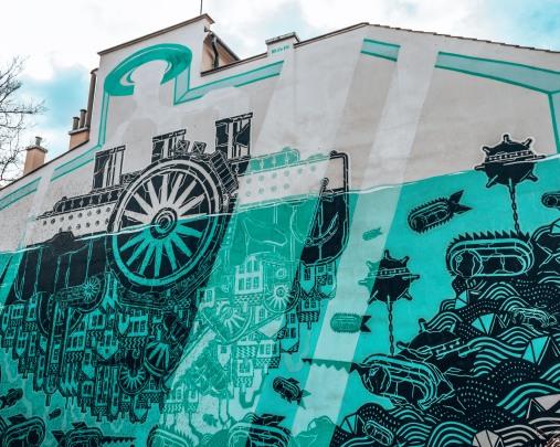 Even more street art in the Jewish quarter of Krakow, Poland