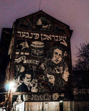 Some more cool street art in the Jewish quarter of Krakow, Poland