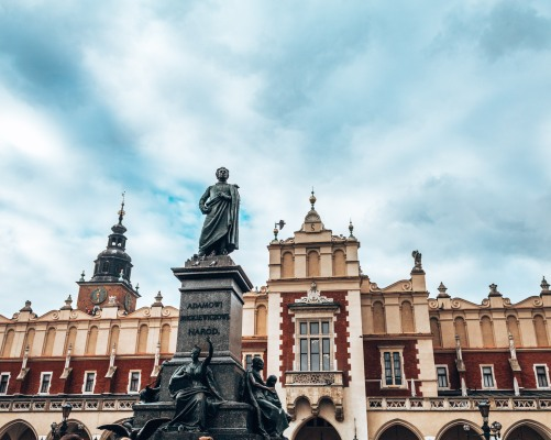 The market square in the old town of Krakow, Poland