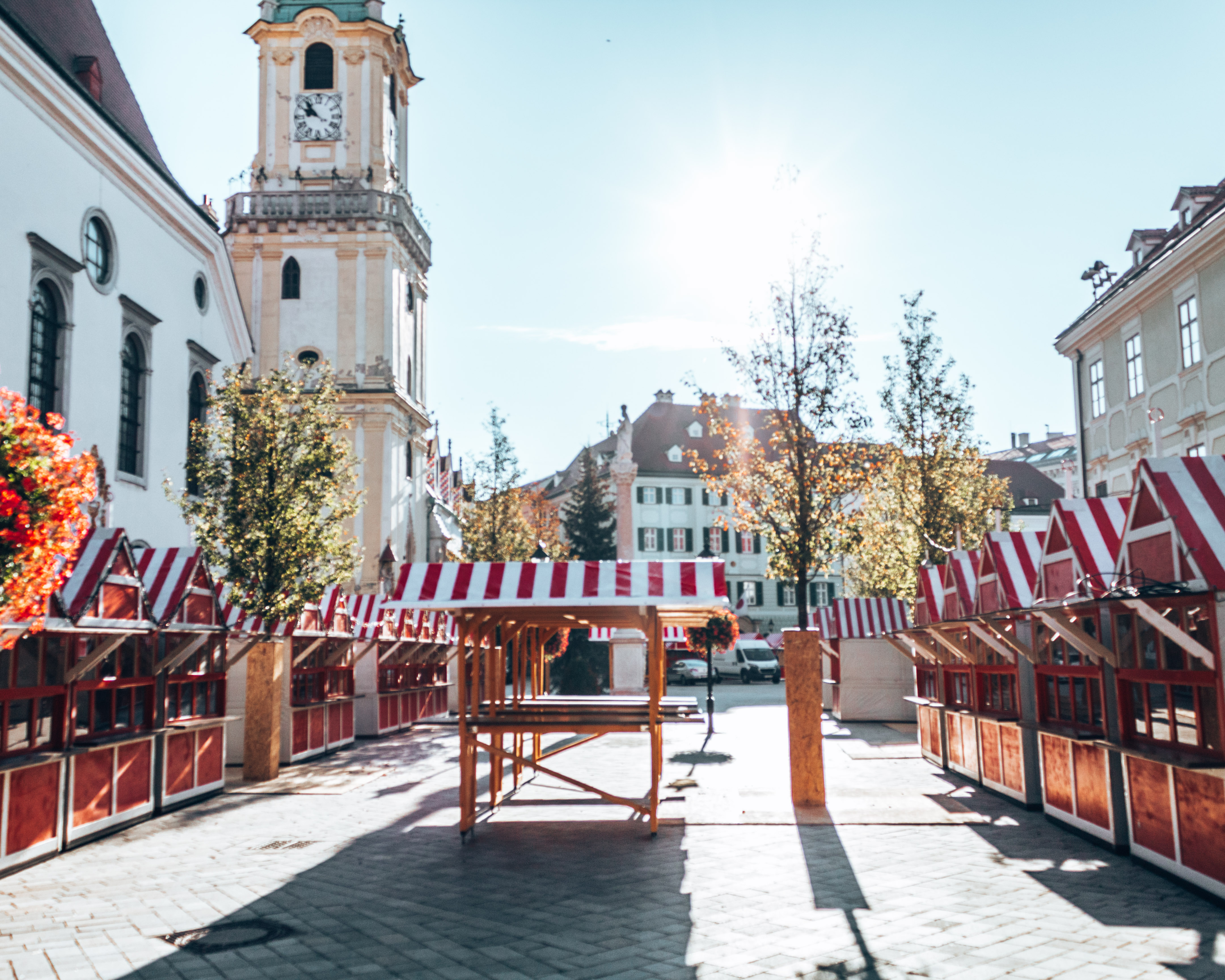 The Christmas markets being setup in the Old town of Bratislava, Slovakia