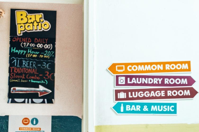 The many amenities at the Patio Hostel in Bratislava, Slovakia