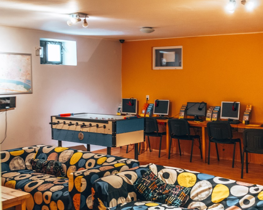The awesome common area at the Patio Hostel in Bratislava, Slovakia