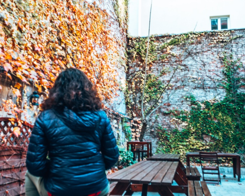 Chill out in the cool outdoor patio at the Patio Hostel in Bratislava, Slovakia