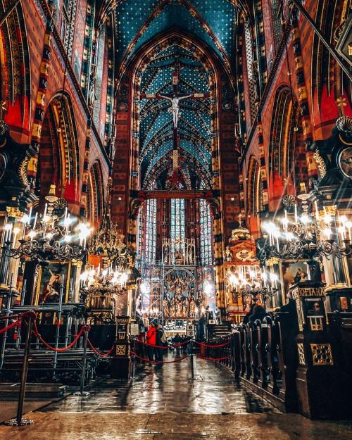 Peak inside St Mary's Basilica in Krakow, Poland