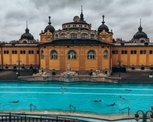 A view inside the Széchenyi thermal baths in Budapest, Hungary