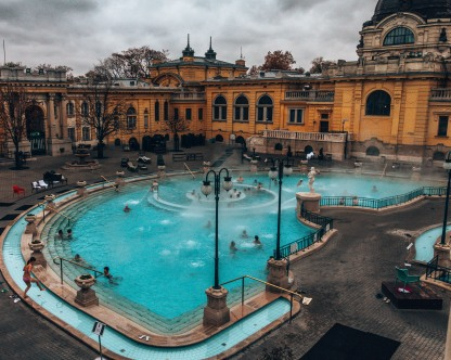 Take a peak inside the Széchenyi thermal baths in Budapest, Hungary.CR2