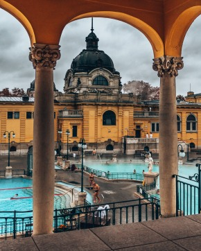 Check out the main pool inside the Széchenyi thermal baths Budapest, Hungary
