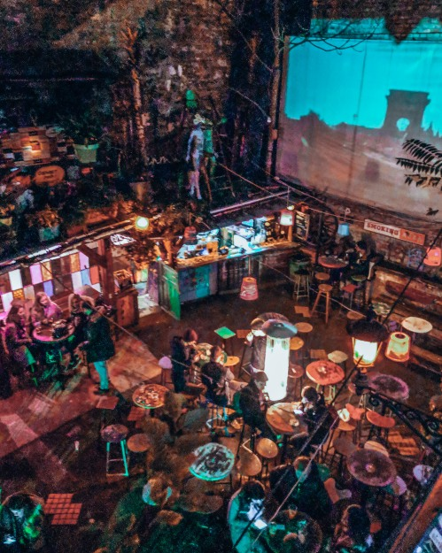 A view from the second floor of Szimpla Kert in Budapest, Hungary