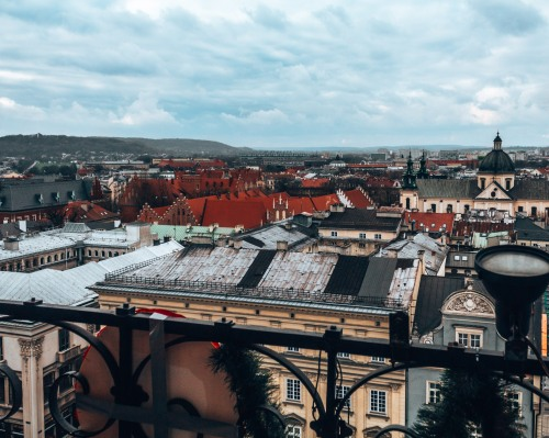 Check out the view from the town hall tower in Krakow, Poland