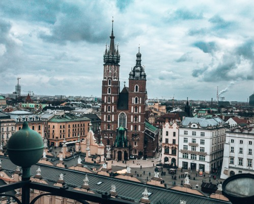 The view from the top of the Town Hall Tower in Krakow, Poland