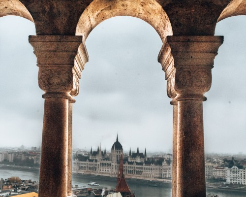 A view of the Hungarian Parliament Building from the Fishermans Bastion in Budapest, Hungary