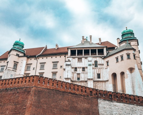 The view from the front of the Wawel castle in Krakow, Poland