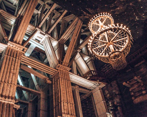 The largest chandelier in the Wielicska salt mines in Wielicksa, Poland