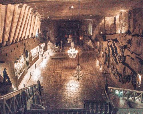 The largest underground chapel at the Wielicska salt mines in Wielicksa, Poland
