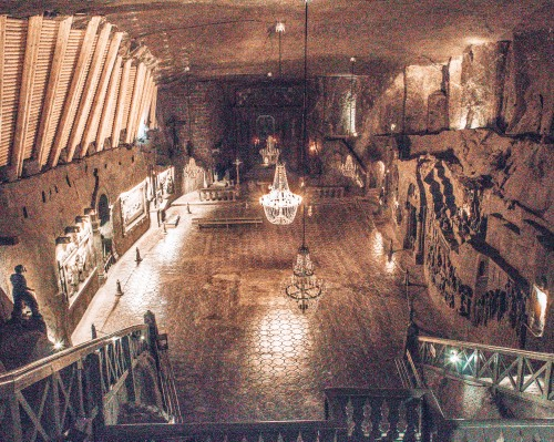 The largest underground chapel at the Wielicska salt mines in Wielicksa, Poland