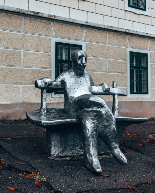 A sculpture of famous poet Antun Gustav Matos in Zagreb, Croatia