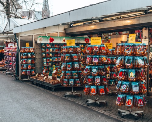 The famous Bloemenmarkt tulip market in Amsterdam, Netherlands