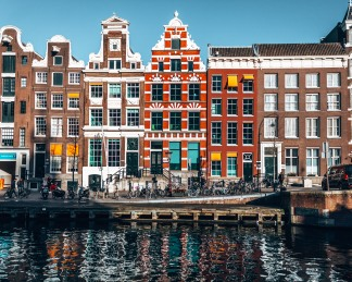 Pretty houses on the Canals of Amsterdam, Netherlands