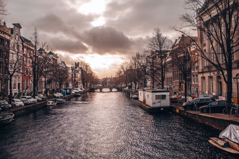 A lovely sunset over the canals of Amsterdam, Netherlands