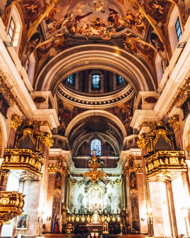 Inside the Cathedral of Saint Nicholas in Ljubljana, Slovenia