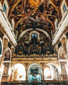 A view of the organ inside the Cathedral of Saint Nicholas in Ljubljana, Slovenia