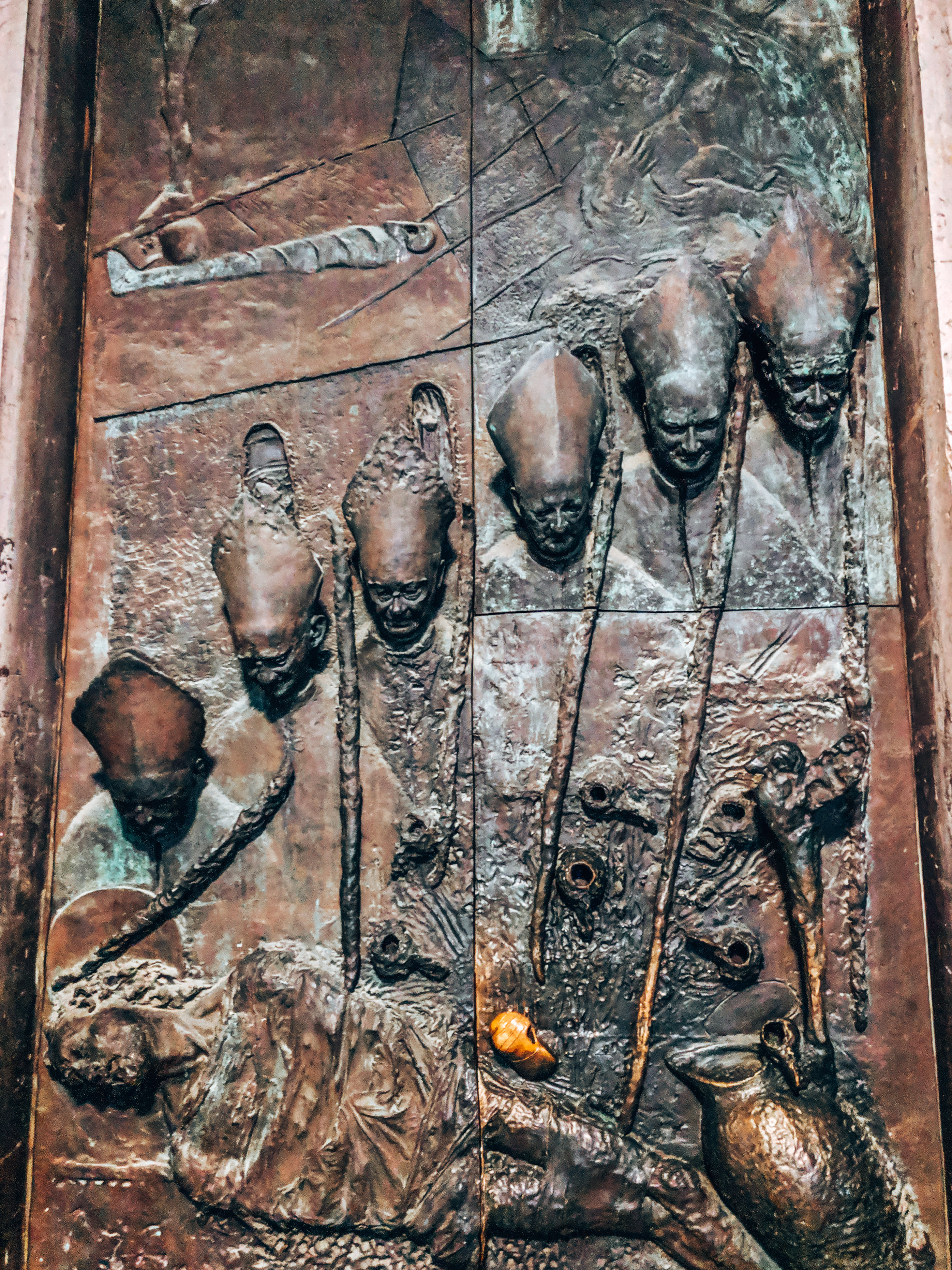 Bronze doors of the Cathedral of St. Nicholas in Ljubljana, Slovenia