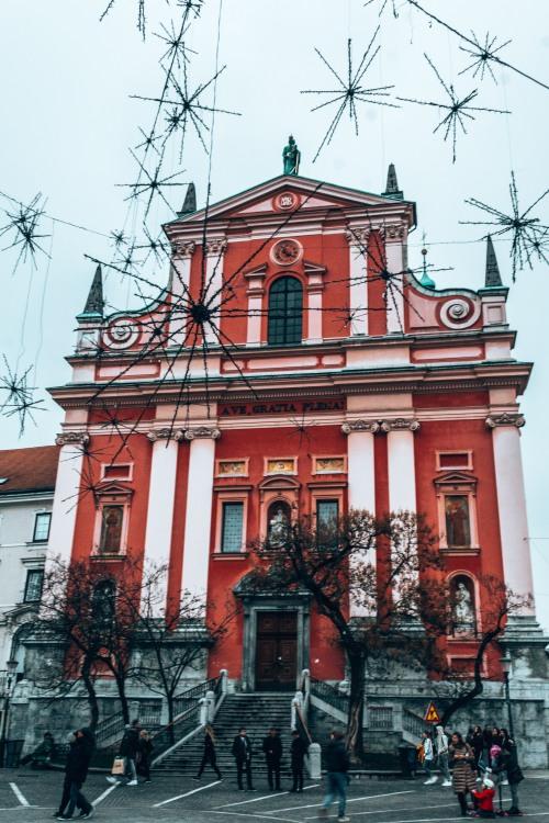 The Cerkev Marijinega oznanjenja church in Ljubljana, Slovenia