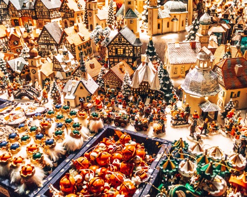 Ornaments at the Christkindlmarkt in Salzburg, Austria
