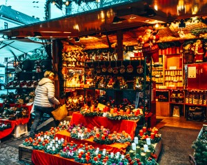 Goods for sale at the Christmas market near the Mirabell Palace in Salzburg, Austria
