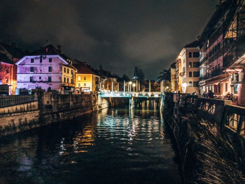 The Cobbler Bridge in Ljubljana, Slovenia
