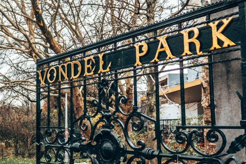 The entrance to the Vondel Park in Amsterdam, Netherlands