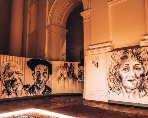 An art exhibition inside the Kollegienkirche in Salzburg, Austria