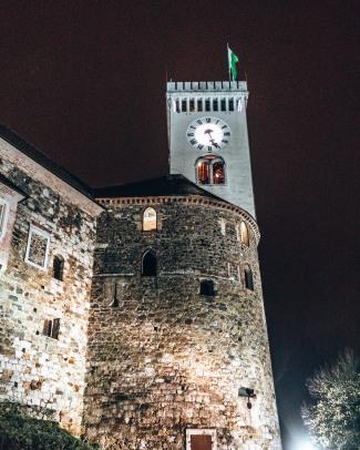 The clocktower at Ljubljana castle in Ljubljana, Slovenia
